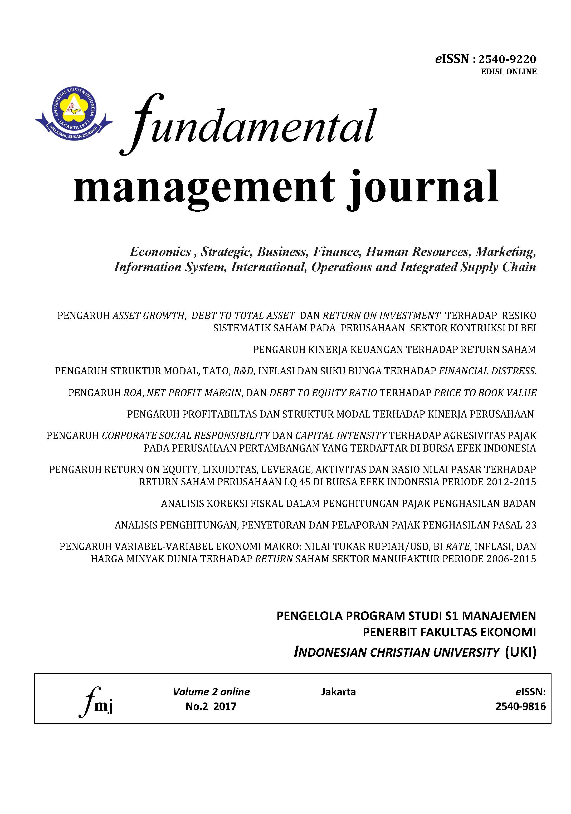 The Effect Of Capital Structure Tato Research And Development Fundamental Management Journal